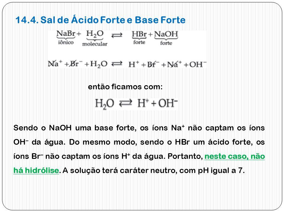 14.4. Sal de Ácido Forte e Base Forte então ficamos com: Sendo o NaOH uma base forte, os íons Na + não captam os íons OH – da água. Do mesmo modo, sen