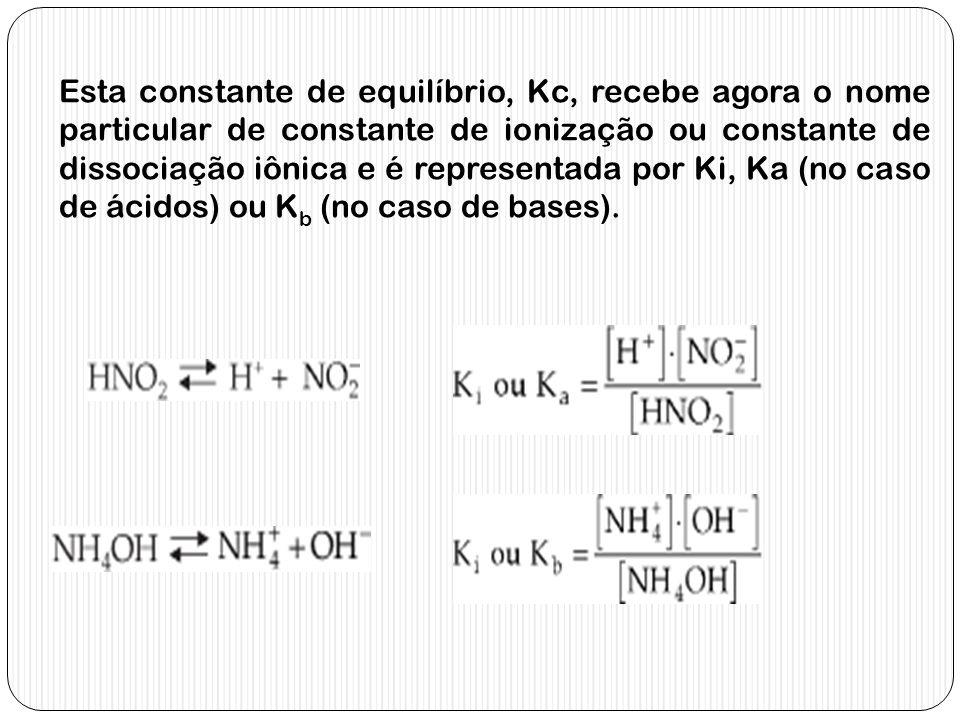 Esta constante de equilíbrio, Kc, recebe agora o nome particular de constante de ionização ou constante de dissociação iônica e é representada por Ki,