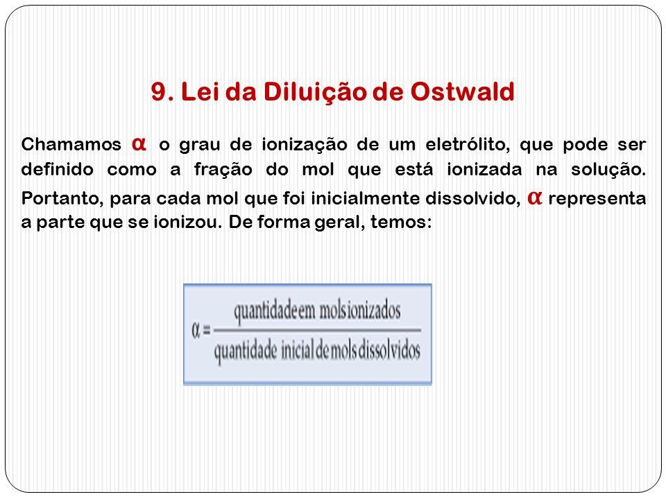 9. Lei da Diluição de Ostwald Chamamos α o grau de ionização de um eletrólito, que pode ser definido como a fração do mol que está ionizada na solução