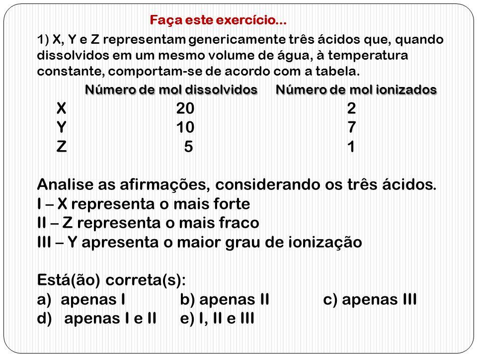 1) X, Y e Z representam genericamente três ácidos que, quando dissolvidos em um mesmo volume de água, à temperatura constante, comportam-se de acordo