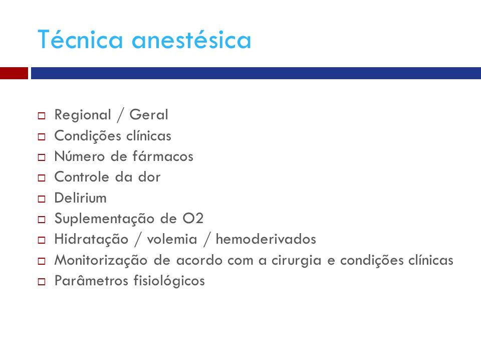 Técnica anestésica Regional / Geral Condições clínicas Número de fármacos Controle da dor Delirium Suplementação de O2 Hidratação / volemia / hemoderivados Monitorização de acordo com a cirurgia e condições clínicas Parâmetros fisiológicos