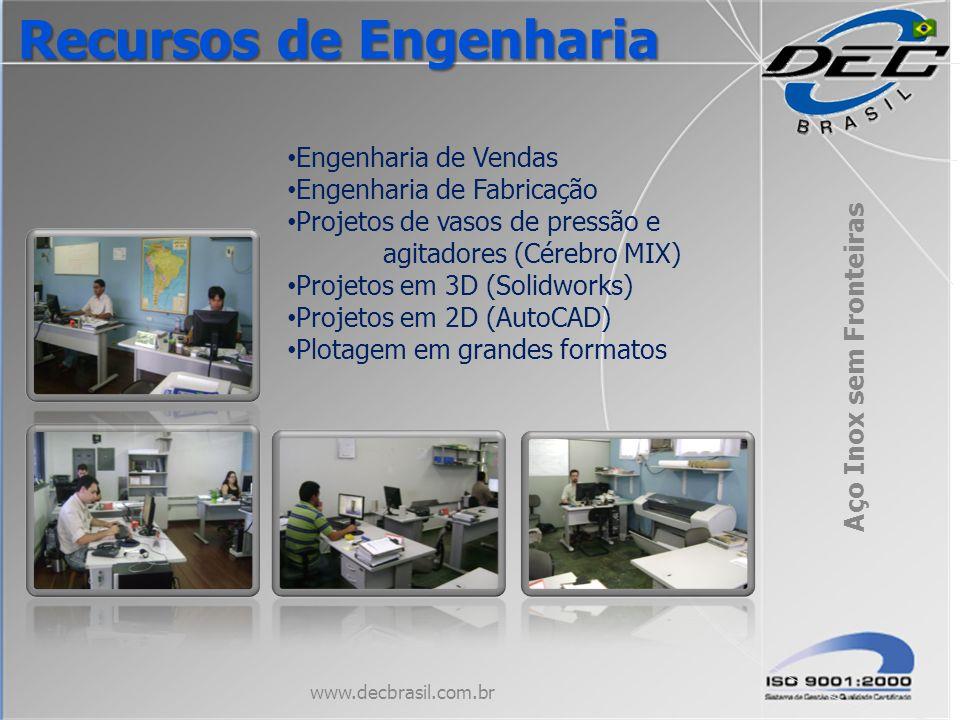 Engenharia de Vendas Engenharia de Fabricação Projetos de vasos de pressão e agitadores (Cérebro MIX) Projetos em 3D (Solidworks) Projetos em 2D (Auto