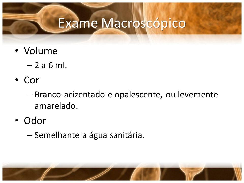 Exame Macroscópico Volume – 2 a 6 ml. Cor – Branco-acizentado e opalescente, ou levemente amarelado. Odor – Semelhante a água sanitária.