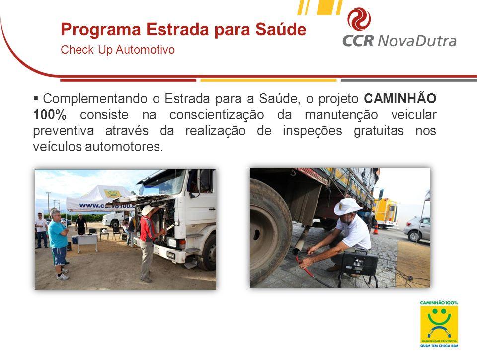 voltar início Complementando o Estrada para a Saúde, o projeto CAMINHÃO 100% consiste na conscientização da manutenção veicular preventiva através da