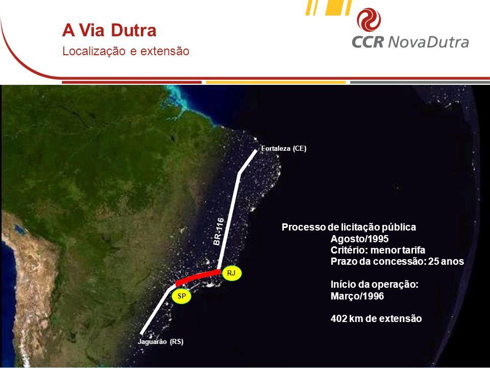 voltar início A Via Dutra Localização e extensão Fortaleza (CE) Jaguarão (RS) BR-116 SP RJ Processo de licitação pública Agosto/1995 Critério: menor t