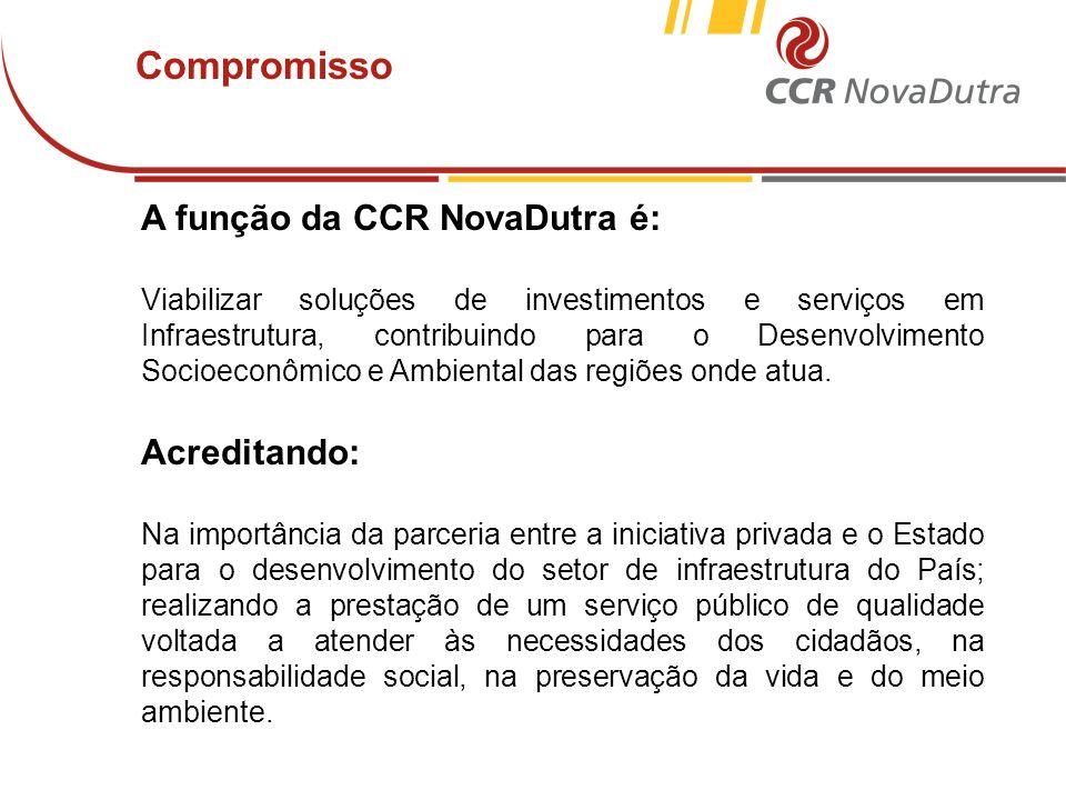 voltar início Compromisso A função da CCR NovaDutra é: Viabilizar soluções de investimentos e serviços em Infraestrutura, contribuindo para o Desenvol