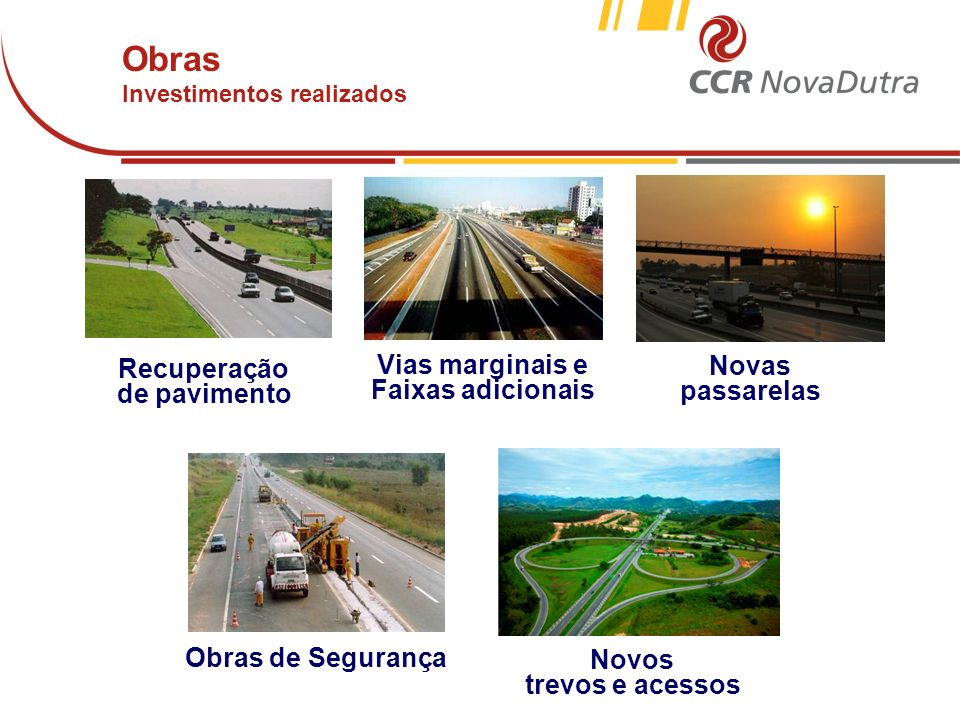 voltar início Principais Obras (de março de 1996 a dezembro de 2011) Novas passarelas Obras de Segurança Vias marginais e Faixas adicionais Novos trevos e acessos Recuperação de pavimento Obras Investimentos realizados