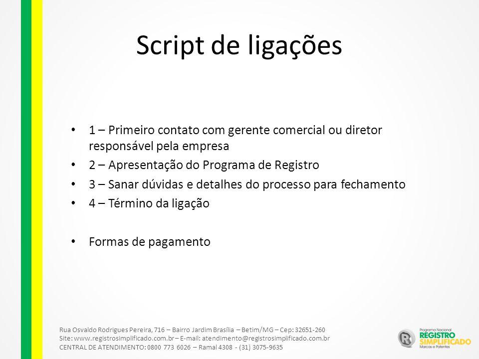 Script de ligações 1 – Primeiro contato com gerente comercial ou diretor responsável pela empresa 2 – Apresentação do Programa de Registro 3 – Sanar d