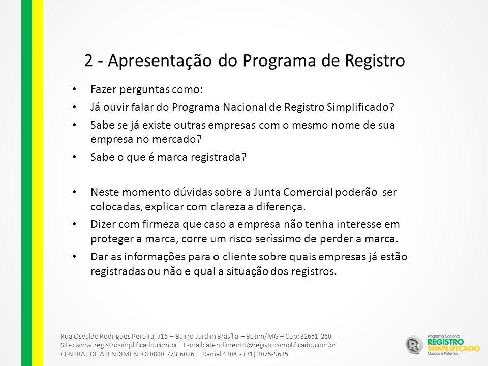 Rua Osvaldo Rodrigues Pereira, 716 – Bairro Jardim Brasília – Betim/MG – Cep: 32651-260 Site: www.registrosimplificado.com.br – E-mail: atendimento@registrosimplificado.com.br CENTRAL DE ATENDIMENTO: 0800 773 6026 – Ramal 4308 - (31) 3075-9635 2 - Apresentação do Programa de Registro Fazer perguntas como: Já ouvir falar do Programa Nacional de Registro Simplificado.
