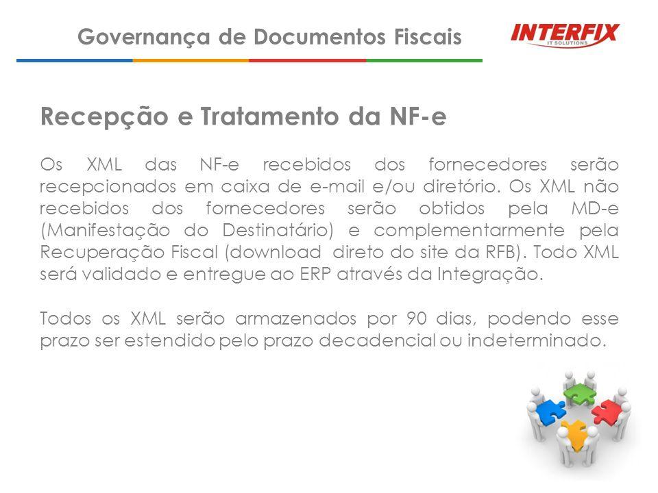 Recepção e Tratamento da NF-e Os XML das NF-e recebidos dos fornecedores serão recepcionados em caixa de e-mail e/ou diretório. Os XML não recebidos d