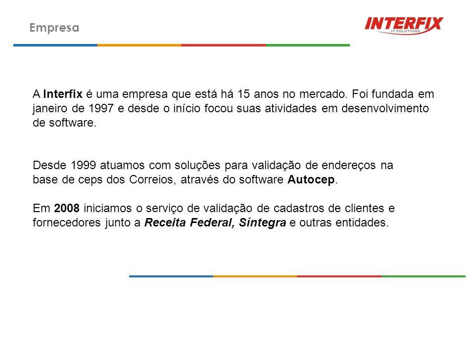 Empresa A Interfix é uma empresa que está há 15 anos no mercado. Foi fundada em janeiro de 1997 e desde o início focou suas atividades em desenvolvime