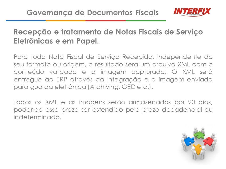 Recepção e Tratamento de Notas Fiscais de Serviços Eletrônicas e em Papel.