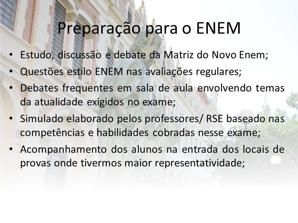 Preparação para o ENEM Estudo, discussão e debate da Matriz do Novo Enem; Questões estilo ENEM nas avaliações regulares; Debates frequentes em sala de