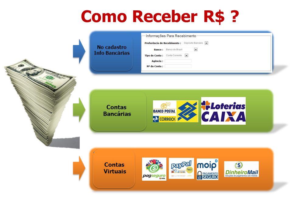 Como Receber R$ ? No cadastro Info Bancárias Contas Bancárias Contas Virtuais