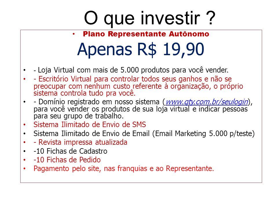 O que investir ? Plano Representante Autônomo Apenas R$ 19,90 - Loja Virtual com mais de 5.000 produtos para você vender. - Escritório Virtual para co