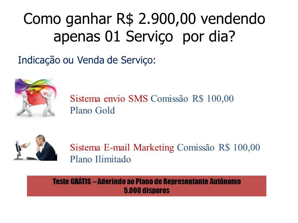 Como ganhar R$ 2.900,00 vendendo apenas 01 Serviço por dia? Indicação ou Venda de Serviço: Sistema envio SMS Comissão R$ 100,00 Plano Gold Sistema E-m