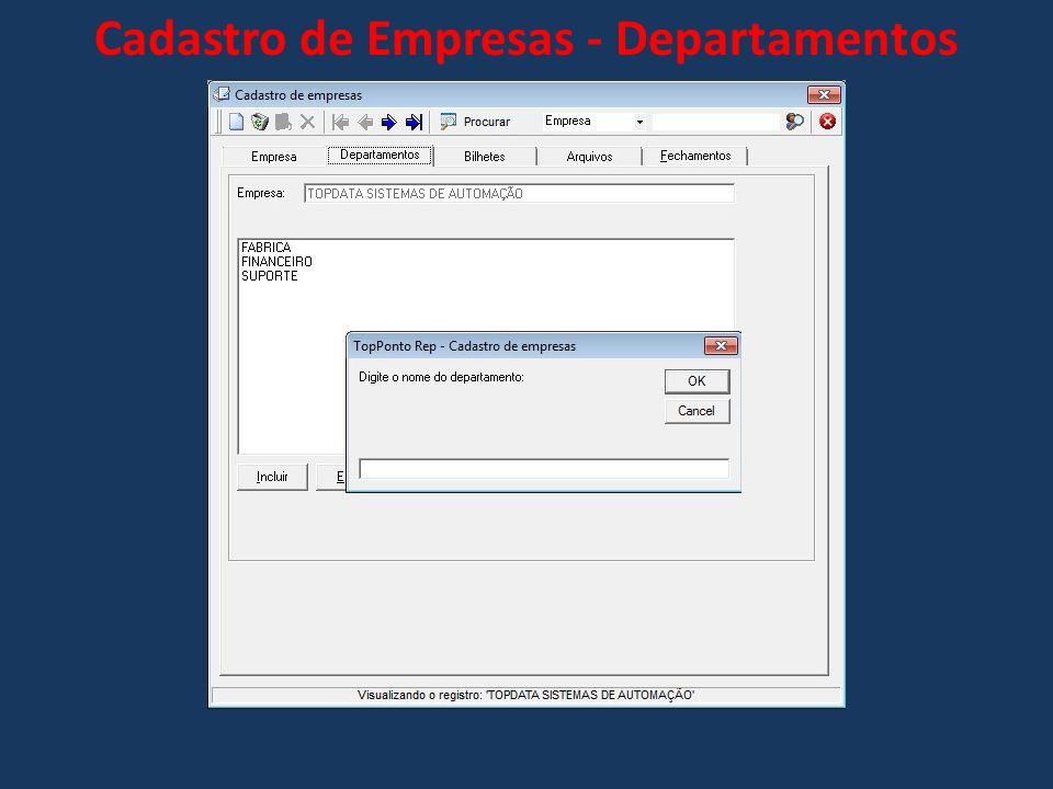 Cadastro de Empresas - Departamentos