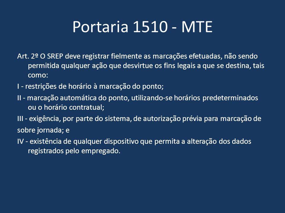Portaria 1510 - MTE Art. 2º O SREP deve registrar fielmente as marcações efetuadas, não sendo permitida qualquer ação que desvirtue os fins legais a q