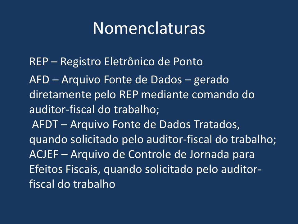 Nomenclaturas REP – Registro Eletrônico de Ponto AFD – Arquivo Fonte de Dados – gerado diretamente pelo REP mediante comando do auditor-fiscal do trab