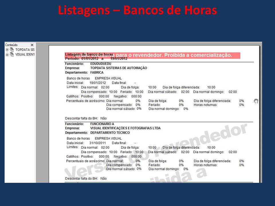 Listagens – Bancos de Horas