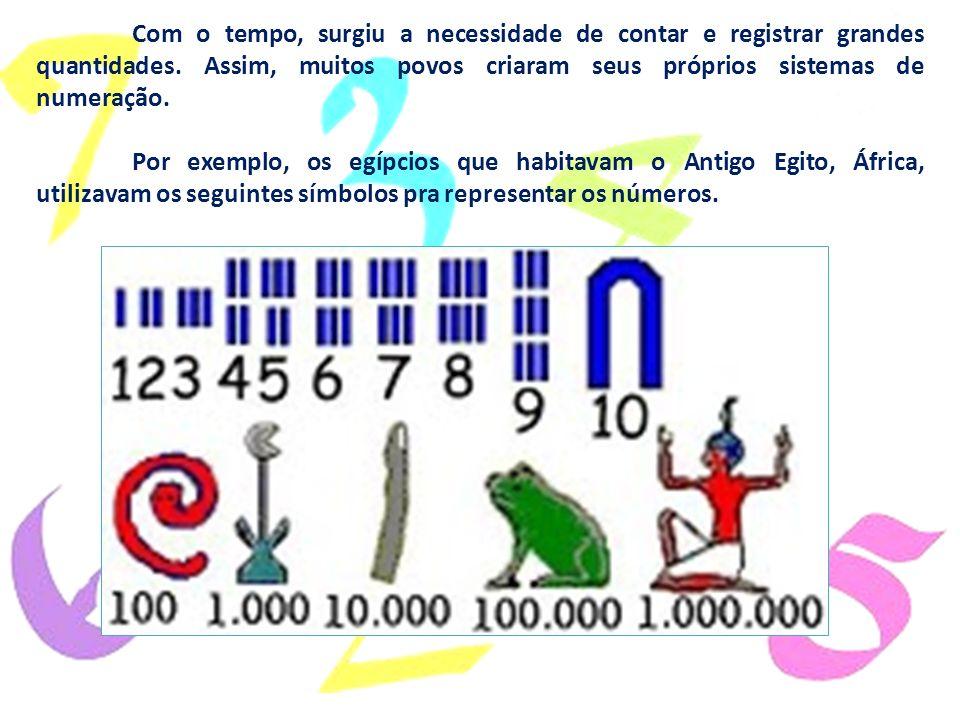 Com o tempo, surgiu a necessidade de contar e registrar grandes quantidades. Assim, muitos povos criaram seus próprios sistemas de numeração. Por exem