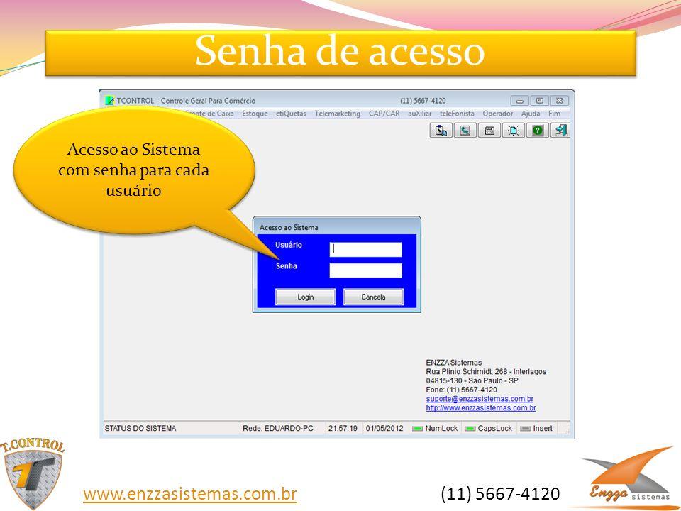 Senha de acesso Acesso ao Sistema com senha para cada usuário www.enzzasistemas.com.brwww.enzzasistemas.com.br (11) 5667-4120