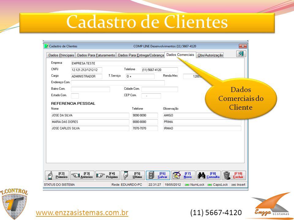 Cadastro de Clientes Dados Comerciais do Cliente www.enzzasistemas.com.brwww.enzzasistemas.com.br (11) 5667-4120