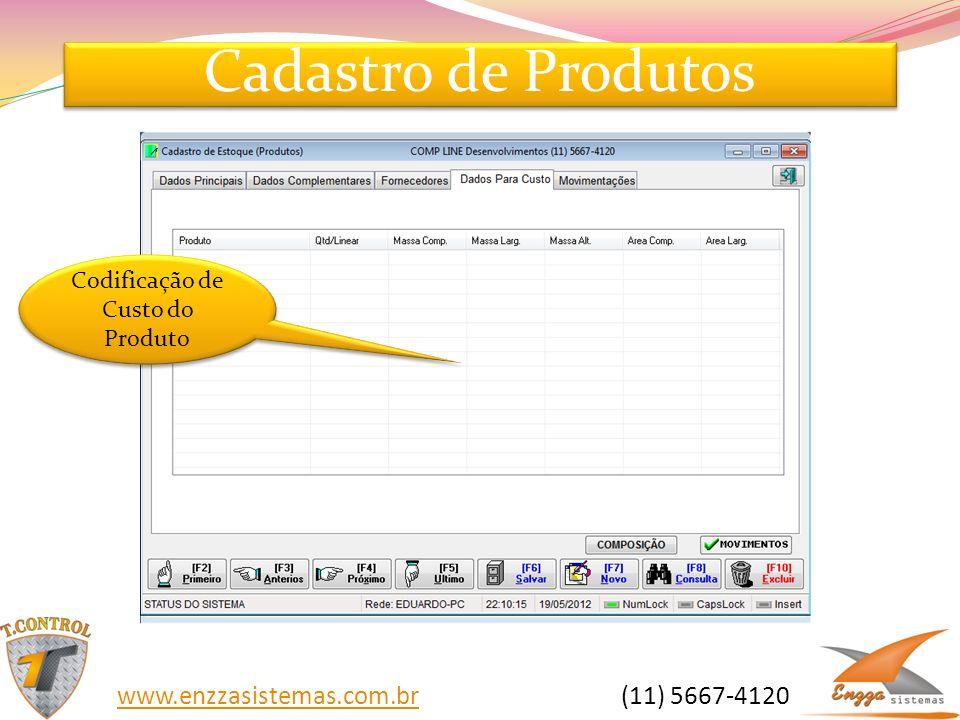 Cadastro de Produtos Codificação de Custo do Produto www.enzzasistemas.com.brwww.enzzasistemas.com.br (11) 5667-4120