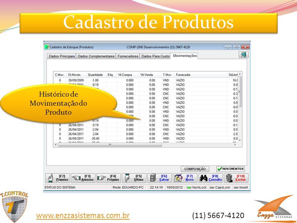 Cadastro de Produtos Histórico de Movimentação do Produto www.enzzasistemas.com.brwww.enzzasistemas.com.br (11) 5667-4120