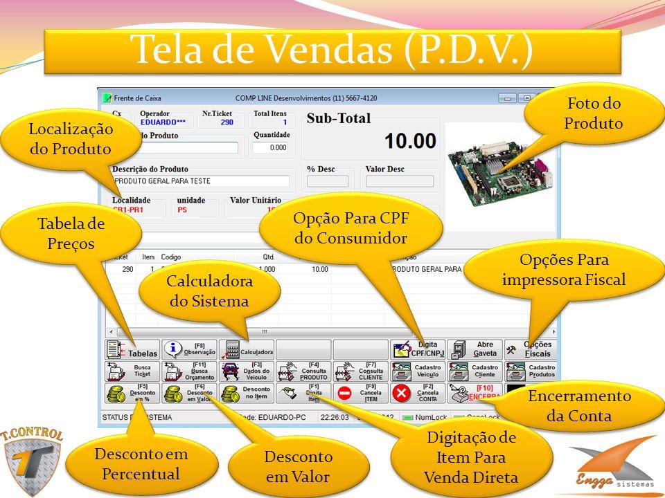Tela de Vendas (P.D.V.) Foto do Produto Localização do Produto Tabela de Preços Encerramento da Conta Desconto em Valor Digitação de Item Para Venda D