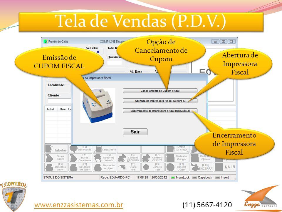 Tela de Vendas (P.D.V.) Opção de Cancelamento de Cupom Emissão de CUPOM FISCAL Abertura de Impressora Fiscal Encerramento de Impressora Fiscal www.enz