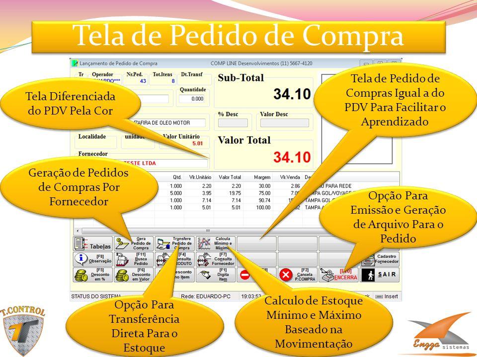Tela de Pedido de Compra Tela de Pedido de Compras Igual a do PDV Para Facilitar o Aprendizado Tela Diferenciada do PDV Pela Cor Opção Para Transferên