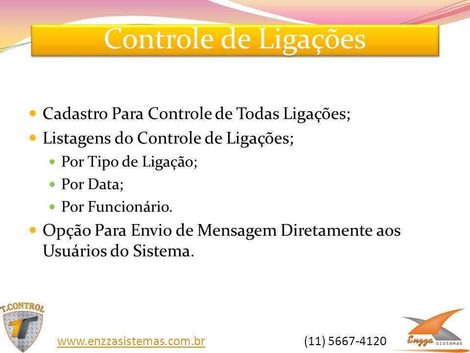 Controle de Ligações Cadastro Para Controle de Todas Ligações; Listagens do Controle de Ligações; Por Tipo de Ligação; Por Data; Por Funcionário. Opçã