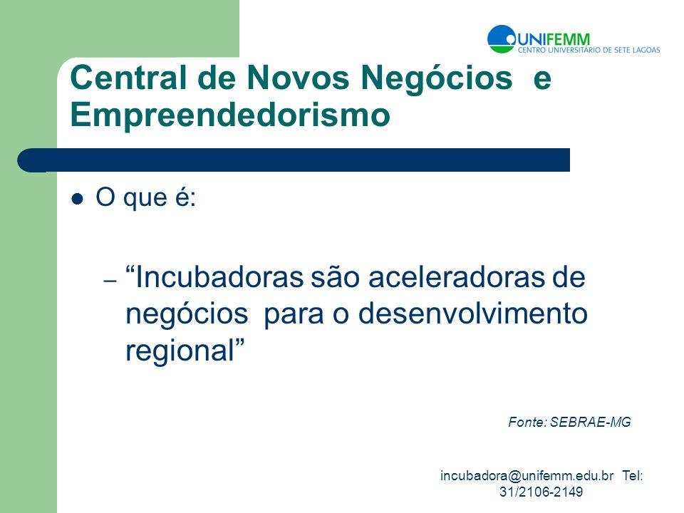 incubadora@unifemm.edu.br Tel: 31/2106-2149 Central de Novos Negócios e Empreendedorismo O que é: – Incubadoras são aceleradoras de negócios para o de