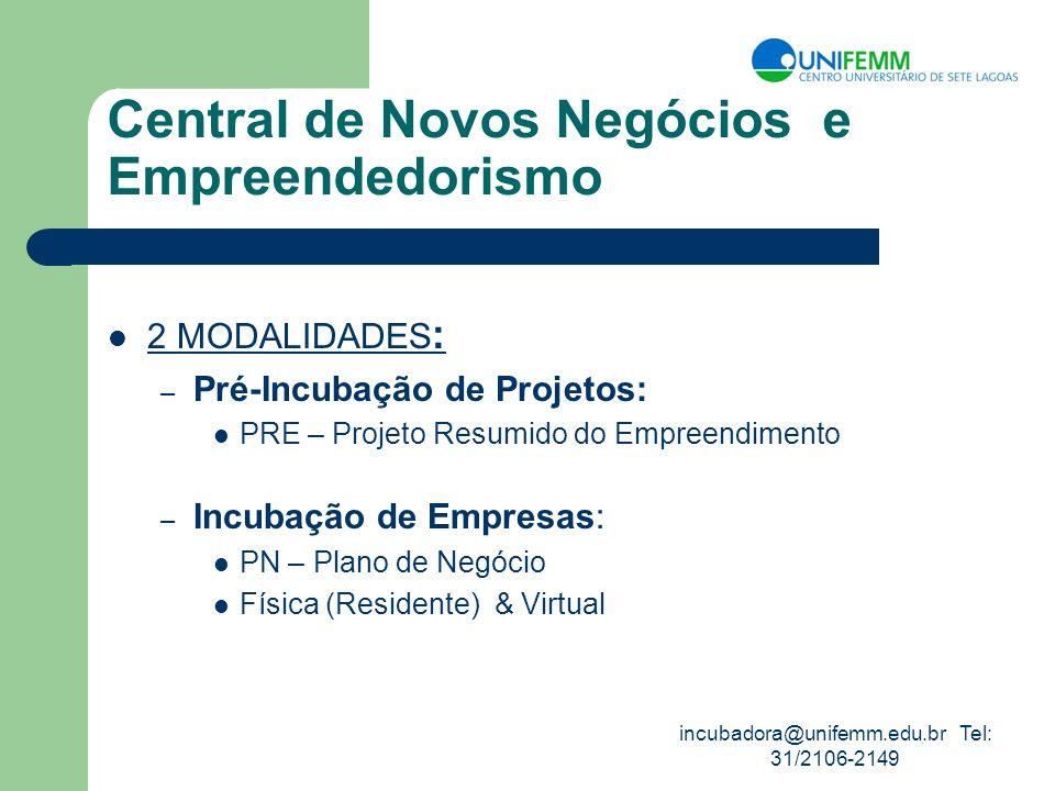 incubadora@unifemm.edu.br Tel: 31/2106-2149 Central de Novos Negócios e Empreendedorismo 2 MODALIDADES : – Pré-Incubação de Projetos: PRE – Projeto Re
