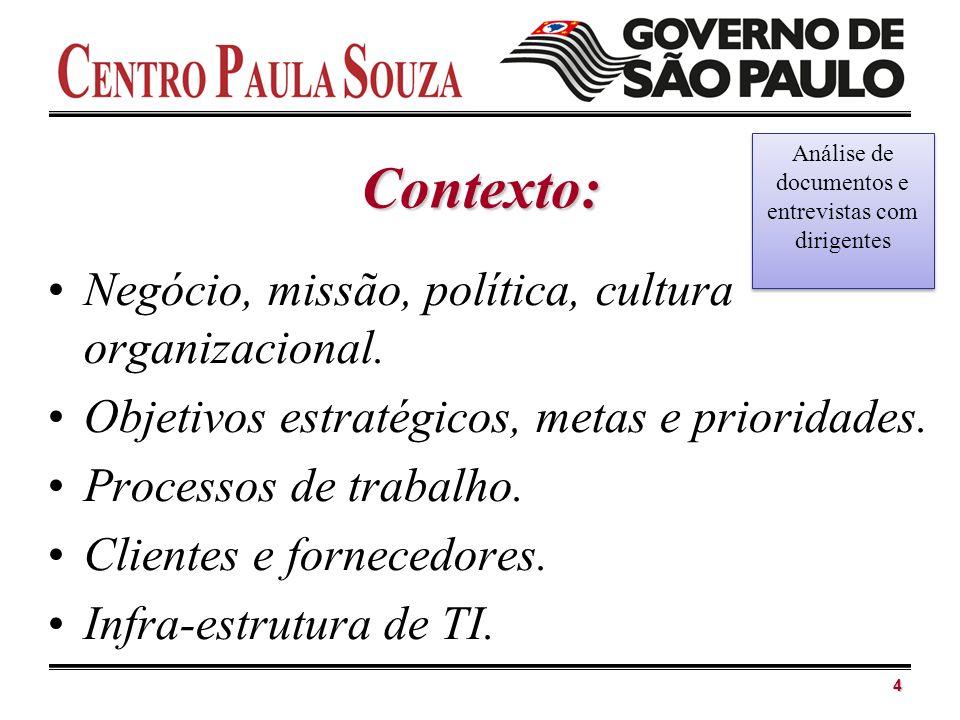 Contexto: Negócio, missão, política, cultura organizacional. Objetivos estratégicos, metas e prioridades. Processos de trabalho. Clientes e fornecedor