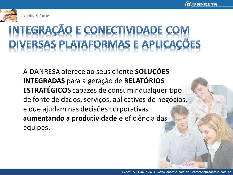 Fone: 55 11 4452-6450 - www.danresa.com.br - comercial@danresa.com.br Relatórios Dinâmicos A DANRESA oferece ao seus cliente SOLUÇÕES INTEGRADAS para
