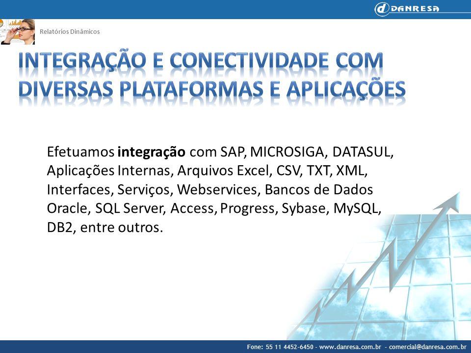 Fone: 55 11 4452-6450 - www.danresa.com.br - comercial@danresa.com.br Relatórios Dinâmicos Efetuamos integração com SAP, MICROSIGA, DATASUL, Aplicaçõe