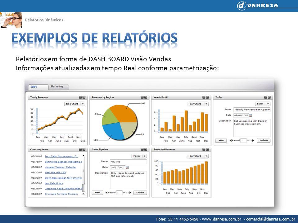Fone: 55 11 4452-6450 - www.danresa.com.br - comercial@danresa.com.br Relatórios Dinâmicos Relatórios em forma de DASH BOARD Visão Vendas Informações