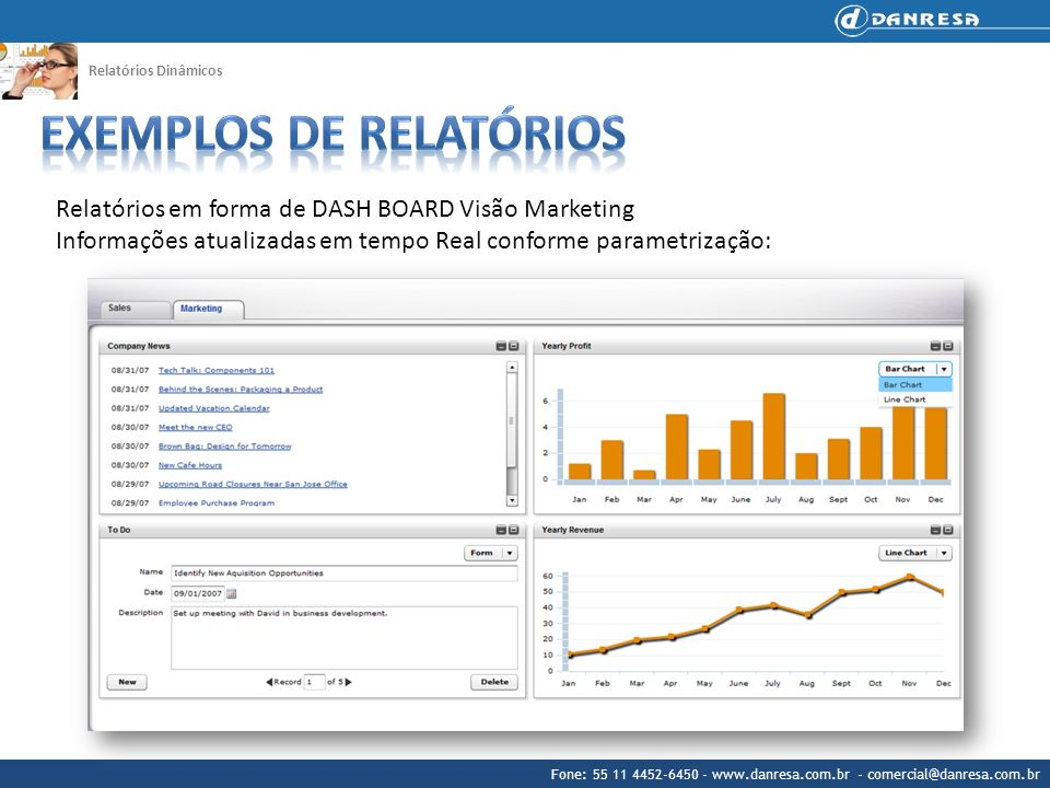 Fone: 55 11 4452-6450 - www.danresa.com.br - comercial@danresa.com.br Relatórios Dinâmicos Relatórios em forma de DASH BOARD Visão Marketing Informaçõ