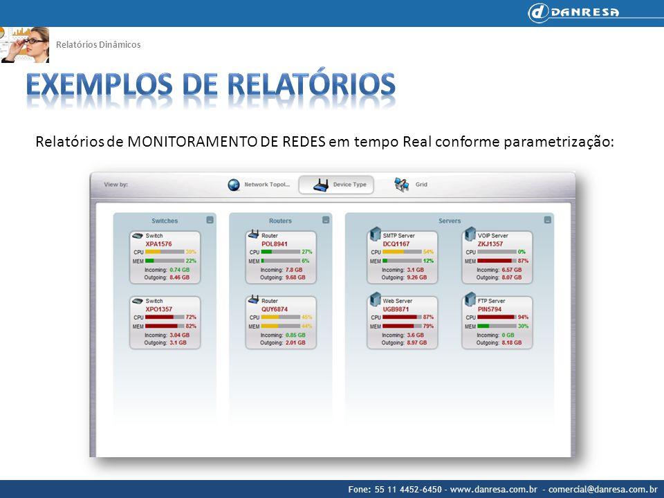 Fone: 55 11 4452-6450 - www.danresa.com.br - comercial@danresa.com.br Relatórios Dinâmicos Relatórios de MONITORAMENTO DE REDES em tempo Real conforme