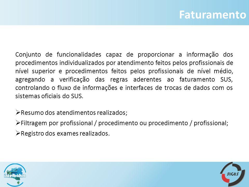 Faturamento Conjunto de funcionalidades capaz de proporcionar a informação dos procedimentos individualizados por atendimento feitos pelos profissiona