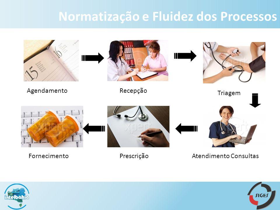 AgendamentoTriagem Atendimento Consultas Recepção PrescriçãoFornecimento Normatização e Fluidez dos Processos