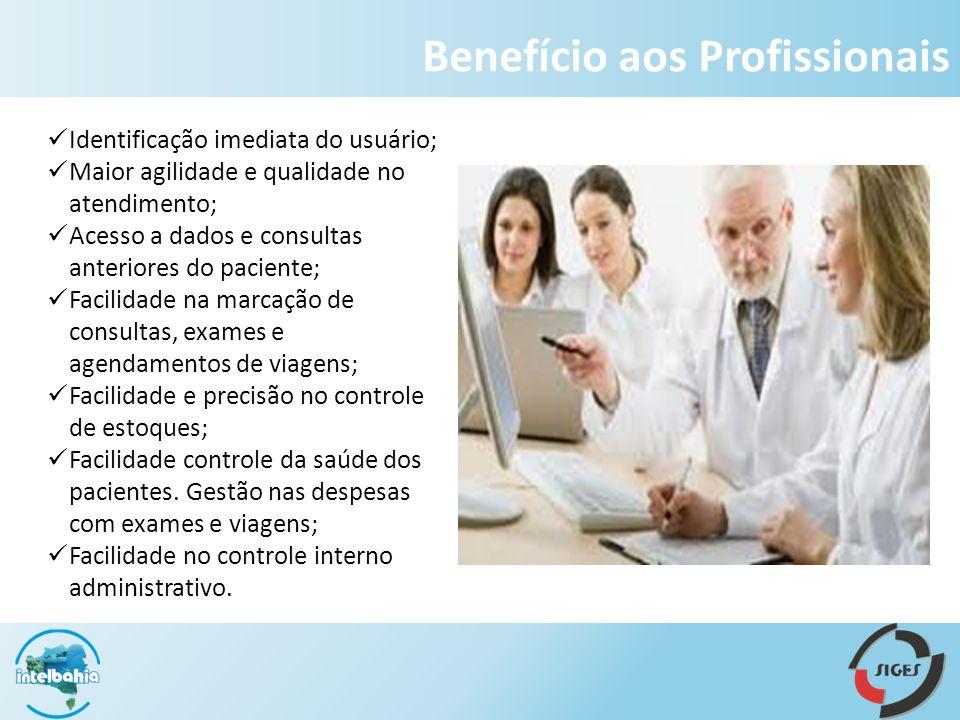 Benefício aos Profissionais Identificação imediata do usuário; Maior agilidade e qualidade no atendimento; Acesso a dados e consultas anteriores do pa