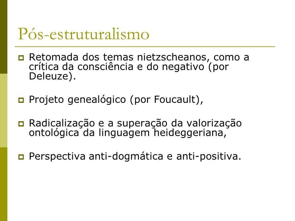 Pós-estruturalismo Retomada dos temas nietzscheanos, como a crítica da consciência e do negativo (por Deleuze). Projeto genealógico (por Foucault), Ra