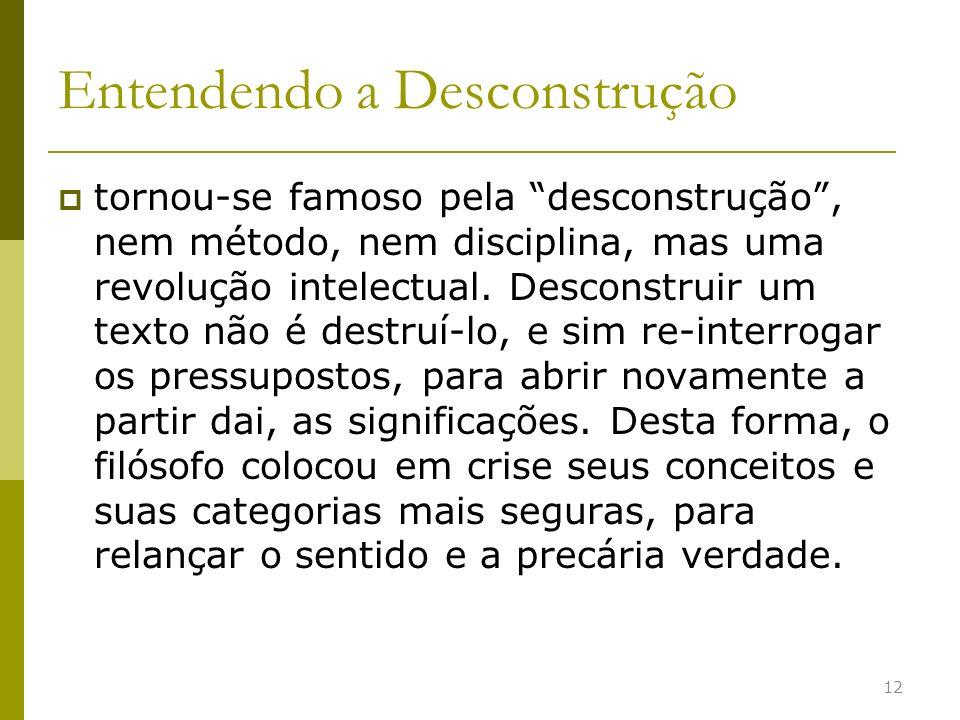 Entendendo a Desconstrução tornou-se famoso pela desconstrução, nem método, nem disciplina, mas uma revolução intelectual. Desconstruir um texto não é