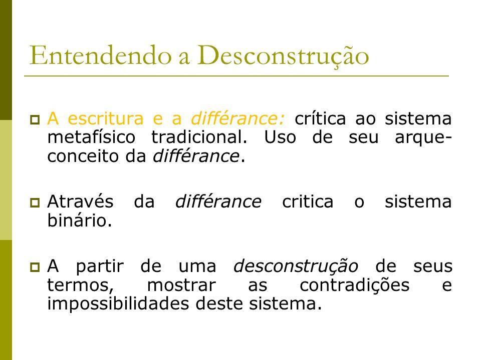 A escritura e a différance: crítica ao sistema metafísico tradicional. Uso de seu arque- conceito da différance. Através da différance critica o siste