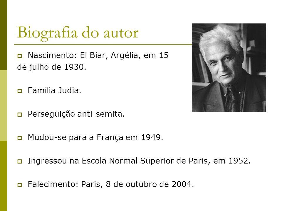 Biografia do autor Nascimento: El Biar, Argélia, em 15 de julho de 1930. Família Judia. Perseguição anti-semita. Mudou-se para a França em 1949. Ingre