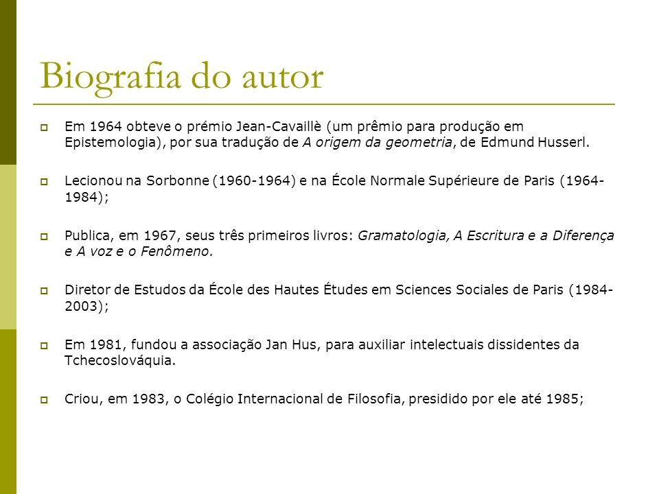 Biografia do autor Em 1964 obteve o prémio Jean-Cavaillè (um prêmio para produção em Epistemologia), por sua tradução de A origem da geometria, de Edm