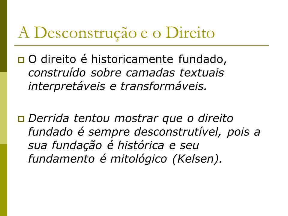 A Desconstrução e o Direito O direito é historicamente fundado, construído sobre camadas textuais interpretáveis e transformáveis. Derrida tentou most